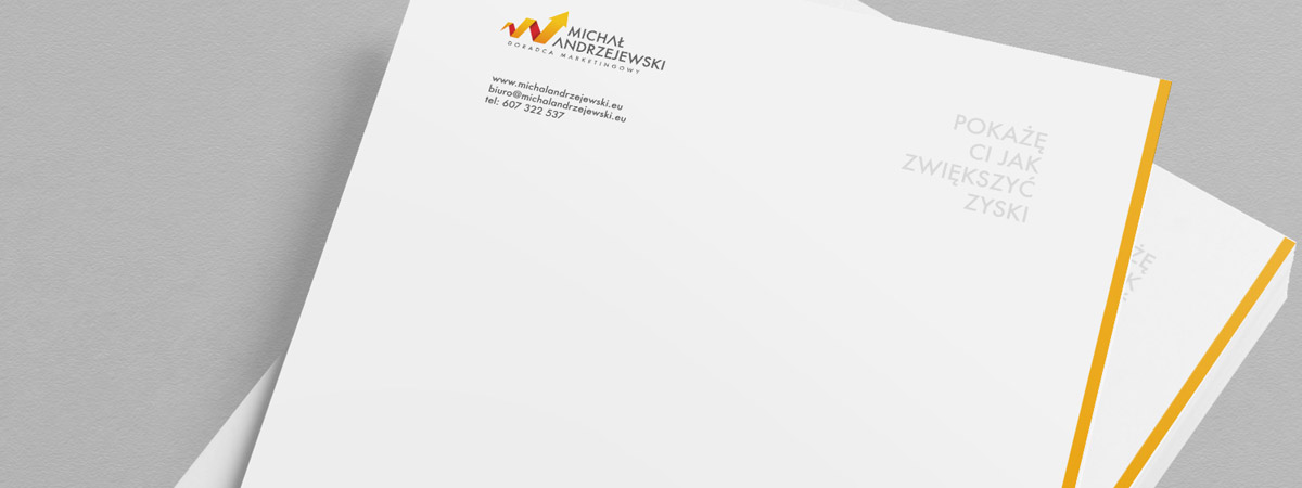 Papier firmowy dla Doradca marketingowy Michał Andrzejewski