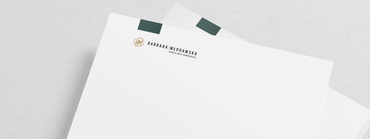 Papier firmowy dla Kancelaria Adwokacka Adwokat Barbara Młodawska